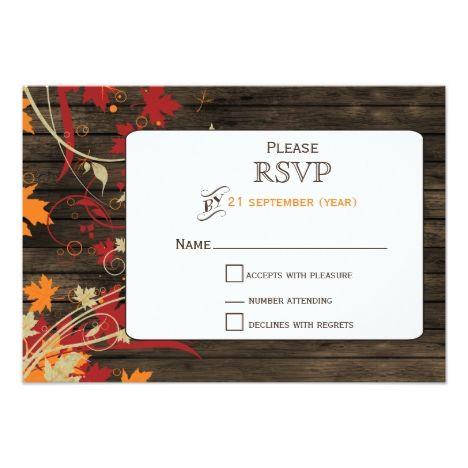 Barnwood Rustic fall leaves wedding RSVP 3.5 x 5 Card