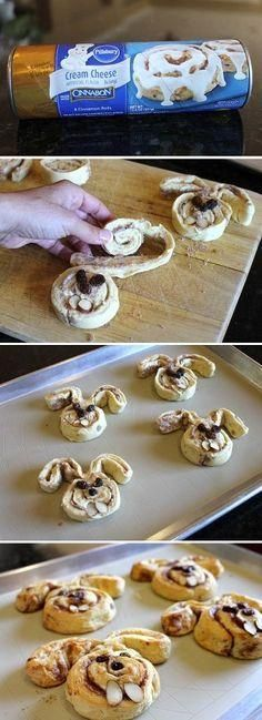 Such a cute Easter idea using cinnamon rolls!: