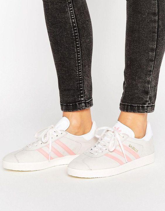 adidas Originals Pastel Grey And Pink Gazelle Trainers