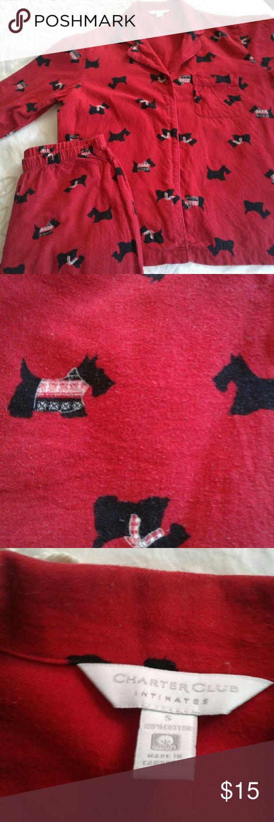 Pajamas Red flannel pajamas with assorted black Scotty dogs print