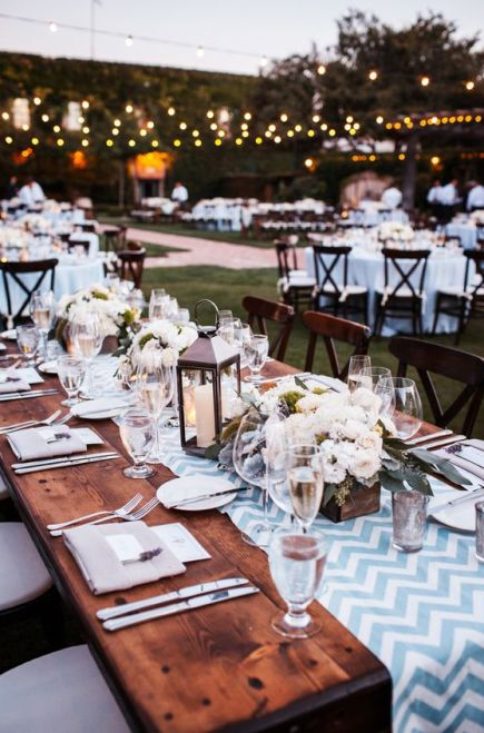 Al Fresco Dinner Reception - Chevron Table Runners - See more on #smp here: http://www.StyleMePretty.com/midwest-weddings/2014/04/11/romantic-wine-country-wedding/ Vrai Photography - vraiphoto.com: