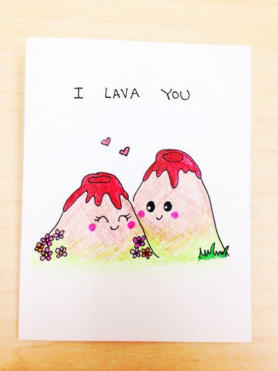 I lava you funny love card, disney pixar short, lava pun card, cute boyfriend card, quirky love card, funny anniversary card by LoveNCreativity: