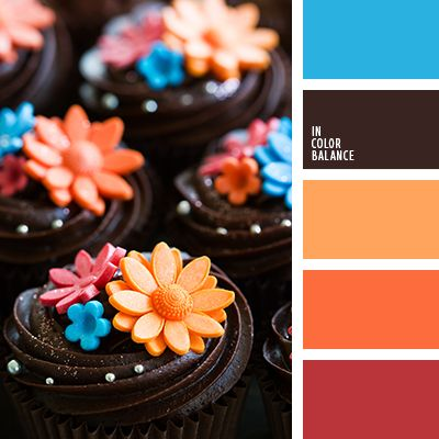 Color Inspiration - Chocolate Cupcakes with bright flower sprinkles