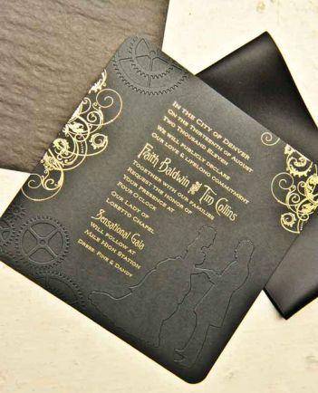 Metallic ink on black embossed paper for this steampunk, industrial, and Victorian themed wedding.  #wedding #denverwedding #weddinginvitations: