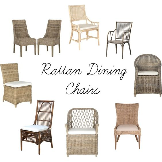 Rattan Dining Chairs by michele-wesdock on Polyvore featuring interior, interiors, interior design, home, home decor, interior decorating and Gray Manor:
