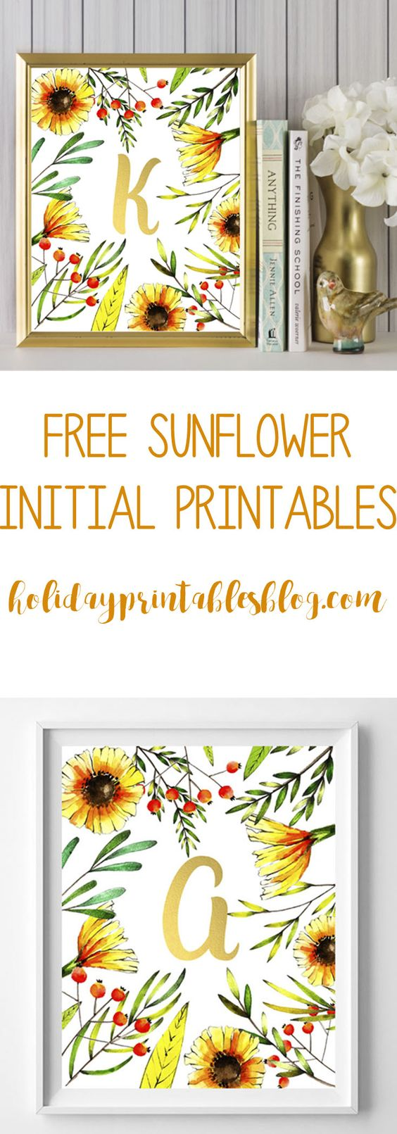 Free sunflower initial printables. Featuring a whimsical sunflower background with gold initials, these printables are perfect for your spring or summer decor or as a gift!: