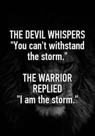 """The devil whispers: You cannot withstand the storm. The warrior replies: I am the storm"" - Google Search:"