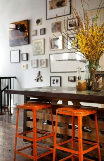 rustic stools and table