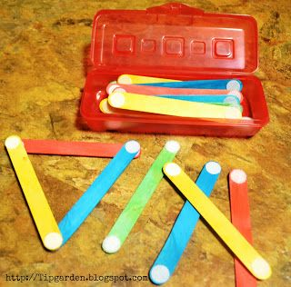 "DIY Toddler Activities - craft sticks and Velcro dots... ""Busy bag"" okay weird…:"