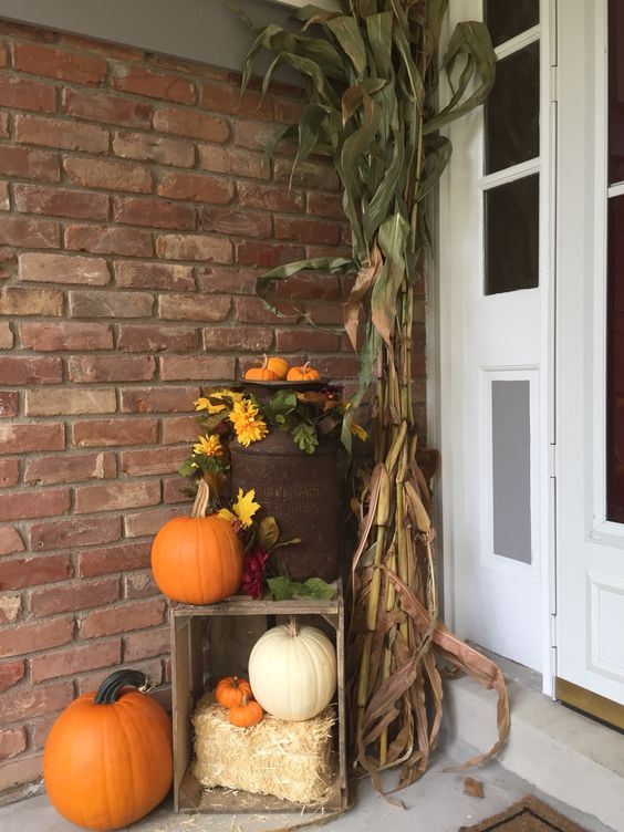 my fall front porch old milk can corn stalks and crate on favorite diy fall decorating ideas add life to your home id=88608