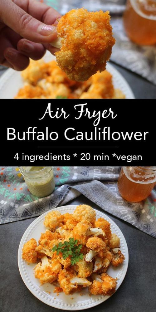 This version of crunchy Air Fryer Buffalo Cauliflower is light on batter and simple to make. Dip it in vegan ranch or your favorite creamy vegan dressing.: