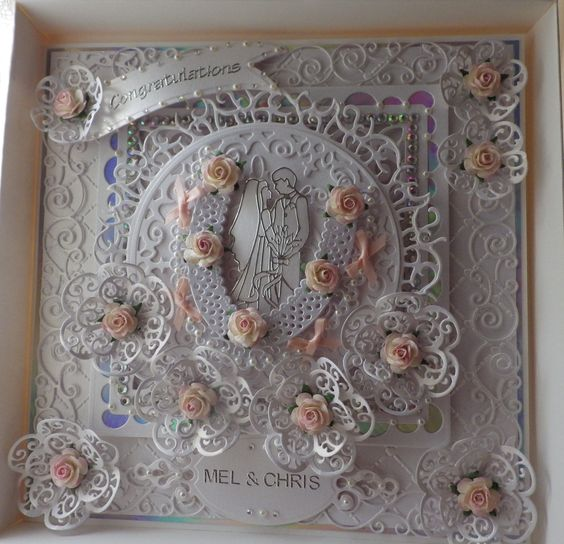 Wedding Card Made With Tattered Lace Tonic Spellbinders