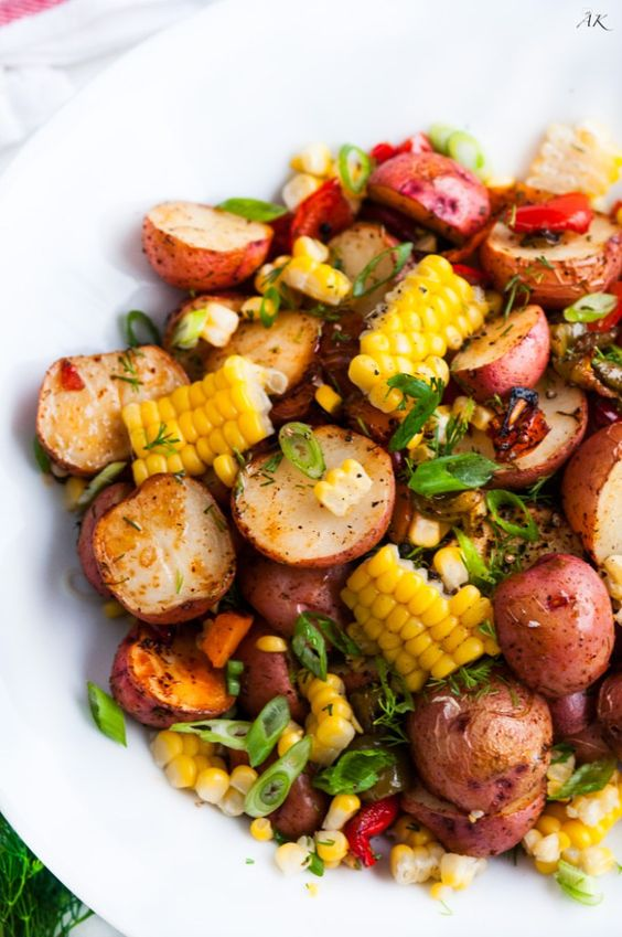 "Southwest Roasted Potato Salad recipe | Aberdeen's Kitchen - ""One pan roasted red potato salad with bell pepper, corn, fresh dill and spices drizzled with olive oil."""