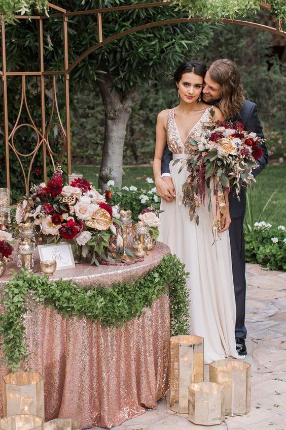 rose gold metallic blush and burgundy wedding decor / http://www.deerpearlflowers.com/burgundy-and-blush-fall-wedding-ideas/: