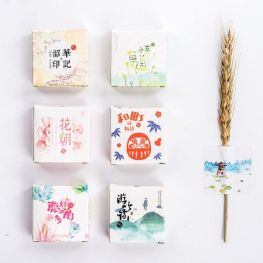 40 pcs/lot DIY Cute Kawaii Flower Stickers Vintage Stamp Sticky Paper For Scrapbooking Photo Album Free Shipping 3402