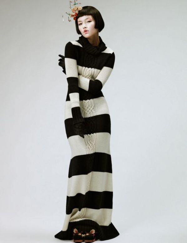 knitGrandeur: The Striped Floor Length Dress