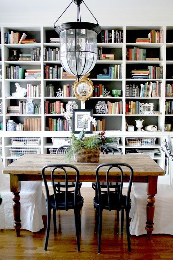 Hello gorgeous! We love Emily Clark's office/ dining room. This multiuse space does double duty as her office and then transforms into a space to entertain at night!: