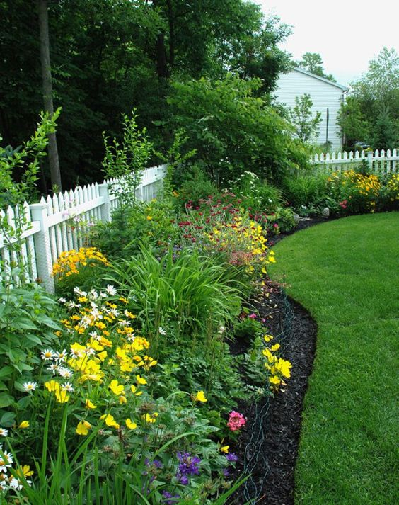 white picket fence over chain link fence with great on backyard fence landscaping id=40496