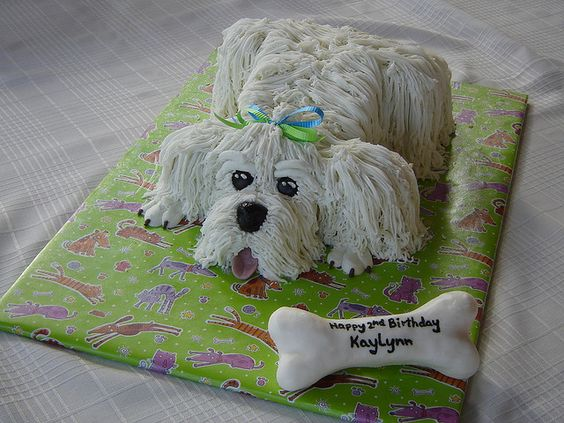 Maltese Dog Birthday Cake Design