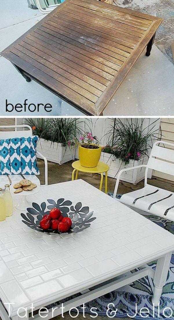 DIY Subway Tile Table Redo:
