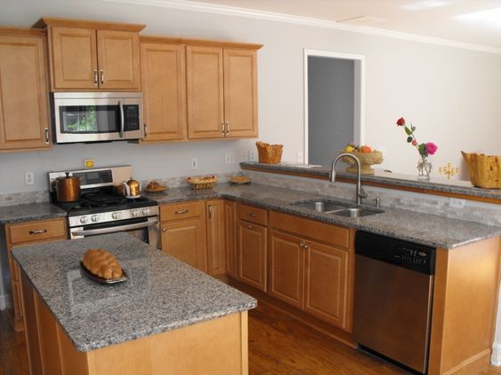 Granite countertops, Granite and Countertops on Pinterest on Light Maple Kitchen Cabinets With Granite Countertops  id=22545