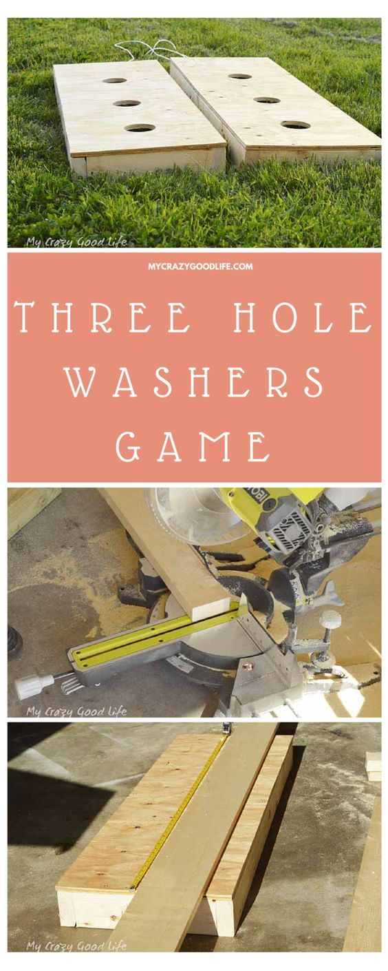 "DIY Three Hole Washers Backyard Party Game Tutorial via My Crazy Good Life ""This awesome DIY Lawn Game is super easy to make and will last for years to come! Three Hole Washers Game is much cheaper to build than it is to buy and ship! Make your own today in time for all those fun summer parties!"""