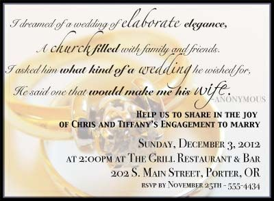Engagement Invitation Card Sayings – Funny Engagement Party Invitation Wording
