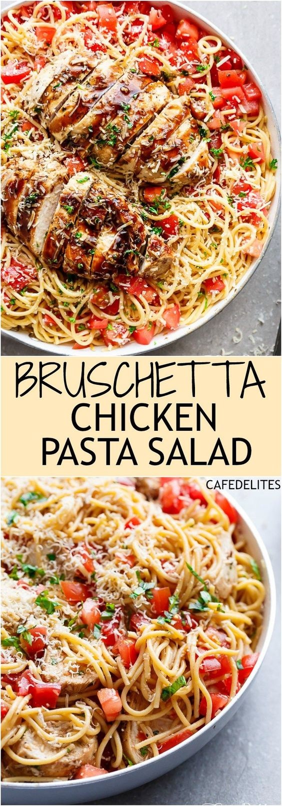 Bruschetta Chicken Pasta Salad Recipe via Cafe Delites - This is a must make for any occasion in minutes! Filled with Italian seasoned grilled chicken, garlic and parmesan cheese! Easy Pasta Salad Recipes - The BEST Yummy Barbecue Side Dishes, Potluck Favorites and Summer Dinner Party Crowd Pleasers