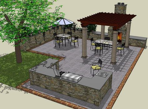 patio layout with outdoor kitchen area would do small covered pergola on top of bar area as on outdoor kitchen plans layout id=87610