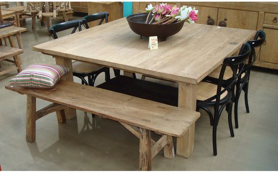 Exquisite Square Dining Table From Solid Wood : Rustic Oak