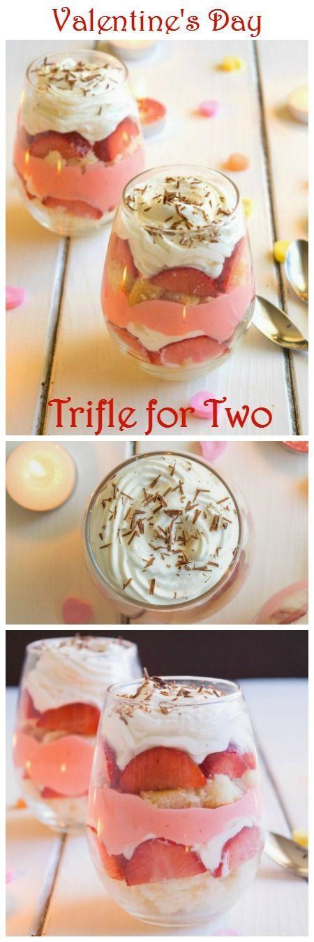 Valentine's Day English Trifle for two Recipe via It's Yummi - the perfect Valentine's Day dessert! Orange sponge cake, strawberries, English custard, and orange infused whipped cream.