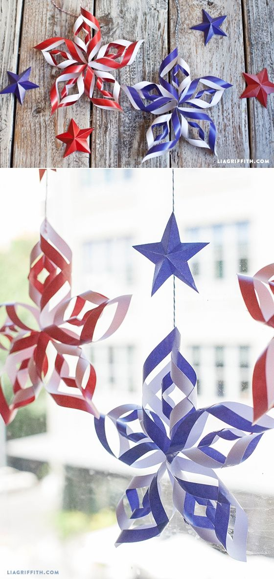 """Make these fun red, white and blue paper stars for your Fourth of July decor. Pattern and tutorial included."" DIY Patriotic Paper Stars Tutorial 