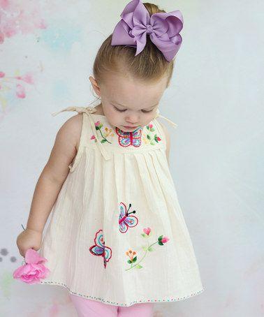 Ecru Butterfly Tunic - Infant, Toddler & Girls by Little Cotton Dress #zulily #zulilyfinds:
