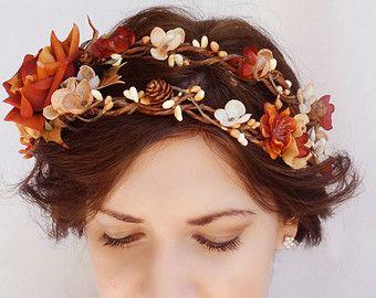 fall hair accessories autumn wedding burnt orange flower hair clip bridesmaid hair