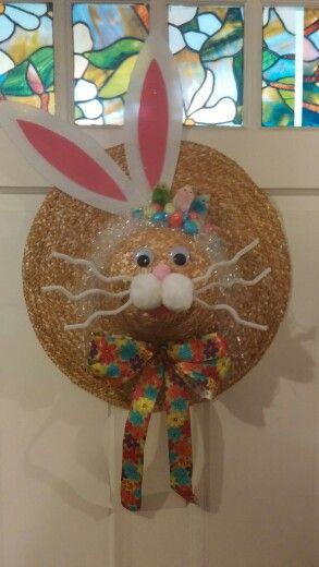 Easter Bunny Straw Hat Wreath Shellys Decor And More