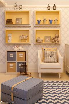 Decoração bebê trigêmeos azul amarelo xadrez chevron: