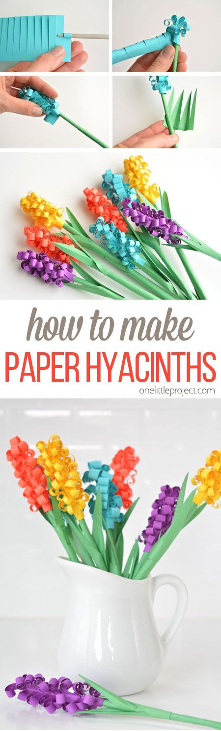 These paper hyacinth flowers are easy to put together and make a gorgeous DIY bouquet! Such a fun spring craft idea!:
