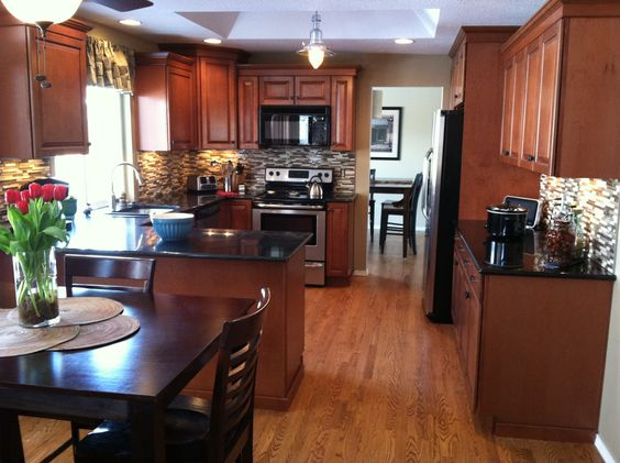 New Kitchen. Maple cognac cabinets. | We are homeowners ... on What Color Backsplash With Maple Cabinets  id=75314