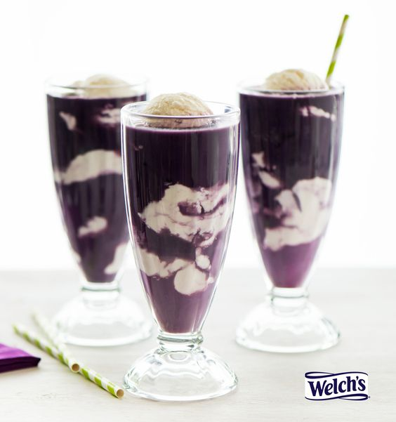 "Here are 12 patriotic Memorial Day food ideas for your picnic and long weekend. Serving foods in red, white, and blue are one way to honor those who served. The original ""Purple Cow"" - Vanilla Ice Cream and Welch's 100% Grape Juice:"