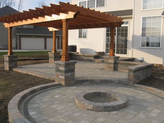 Stone Fire Pit with Pergola for Backyard Patio