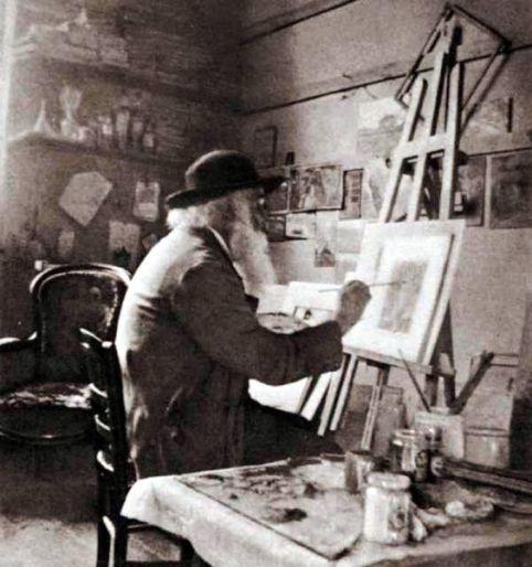 Camille Pissarro in his studio at Eragny, about 1897: