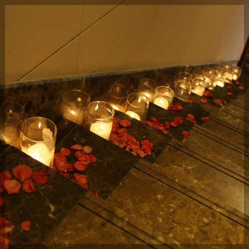Image result for stairs with flowers and candles