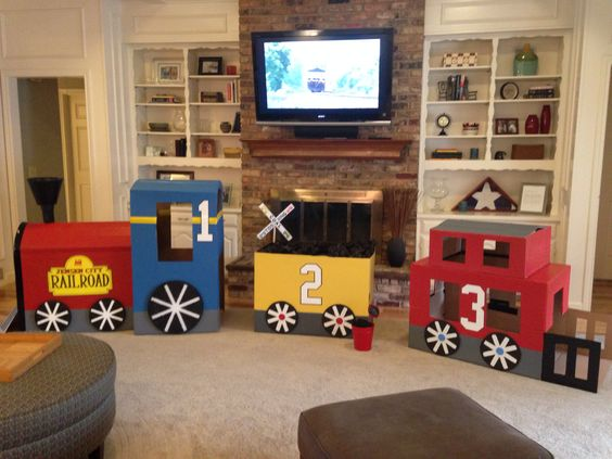 Cardboard Train Trains And Birthday Parties On Pinterest