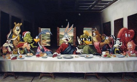 Leonardo da Vinci - The Last Supper Parody - Looney Tunes at Dinner.: