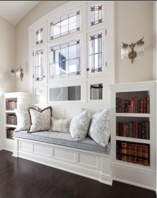 reading nook with library
