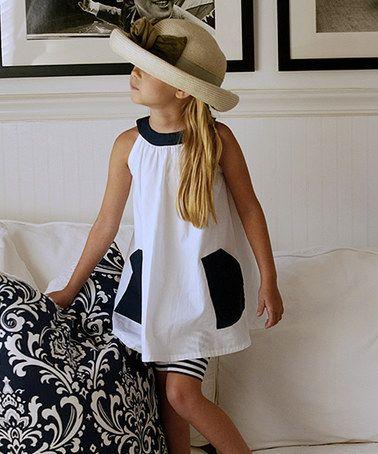 Look what I found on #zulily! White & Navy Angelina Dress - Toddler & Girls #zulilyfinds: