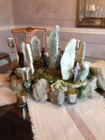 Susan Poore's Outlander premiere party centerpiece, made from styrofoam, moss and real rocks