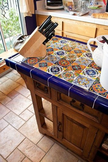 Talavera Tile Accent Table in Kitchen used as Countertop Island