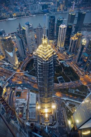 Jin Mao Tower dusk view