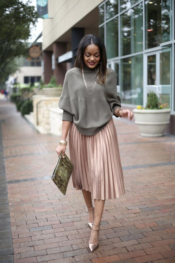 pleated skirt, asos gold pleated midi skirt, asos cape sweater, how to wear a pleated midi skirt, dallas blogger, black fashion blogger: